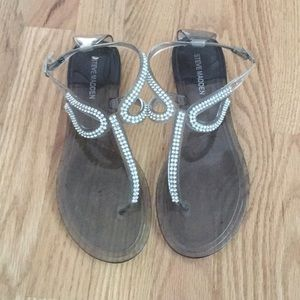Steve Madden Jellies Rhinestone Clear Sandals 38
